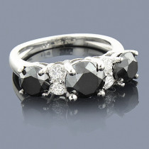 White Black Diamond Engagement Ring 2.70ct