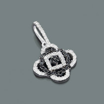 White Black Diamond Flower Pendant 0.30ct 14K Gold