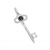 White Black Diamond Key Pendant 14K 0.45ct