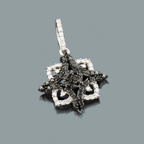 White Black Diamond Star Pendant 0.31ct 14K Gold