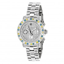 White Blue Yellow Diamond Watch by LUXURMAN 2.75ct Ladies