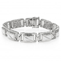 White Gold Plated Sterling Silver Diamond Bracelet for Men 0.9ct