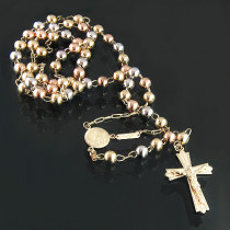 White Pink Yellow 14K Gold Rosary Necklace Beads 21 in