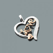 White Rose Gold Diamond Love Heart Pendant 0.11ct 10K