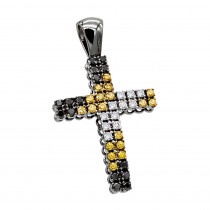 White Yellow Black Diamond Cross Pendant 1.45ct 10K Gold