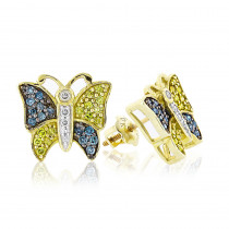 White Yellow Blue Diamond Butterfly Earrings 0.50ct 10K Gold