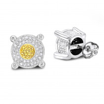 White Yellow Diamond Stud Earrings 0.33ct Sterling Silver