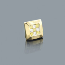 White Yellow Princess Cut Diamond Earring 0.24ct 14K Gold