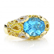 Women's Blue Topaz Cocktail Diamond Ring 0.75ct 18K Gold Custom Made