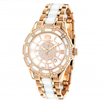 Womens Ceramic Watches Rose Gold Diamond Two Tone White MOP Luxurman Galaxy