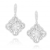 Womens Flower Diamond Dangle Earrings 1.8ct 14K Gold