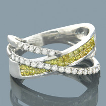 Yellow Diamond Rings 10K Fancy Yellow Diamond Band 1.20