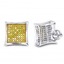 Yellow Diamond Stud Earrings 0.55ct 14K Gold