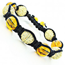 Yellow Disco Ball Bracelet with Yellow Crystals