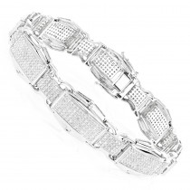 Rose White Yellow Gold Diamond Bracelet for Men 10K 3.48ct