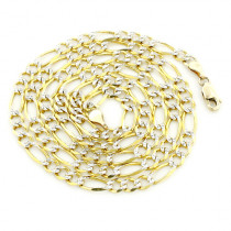 Yellow Gold Diamond Cut Figaro Chain 10K 3.5mm 22-24in