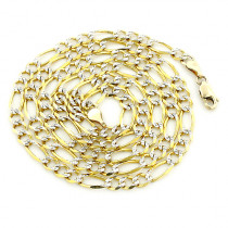 Yellow Gold Diamond Cut Figaro Chain for Men 10K 4.5mm 22-24in