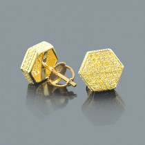 Yellow Gold Plated Yellow Diamond Earrings 0.65ct Sterling Silver