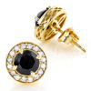 Designer 14K Gold White Black Diamond Stud Earrings 1.92ct