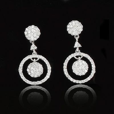 Dangle Diamond Circle Earrings 0.51ct 14K