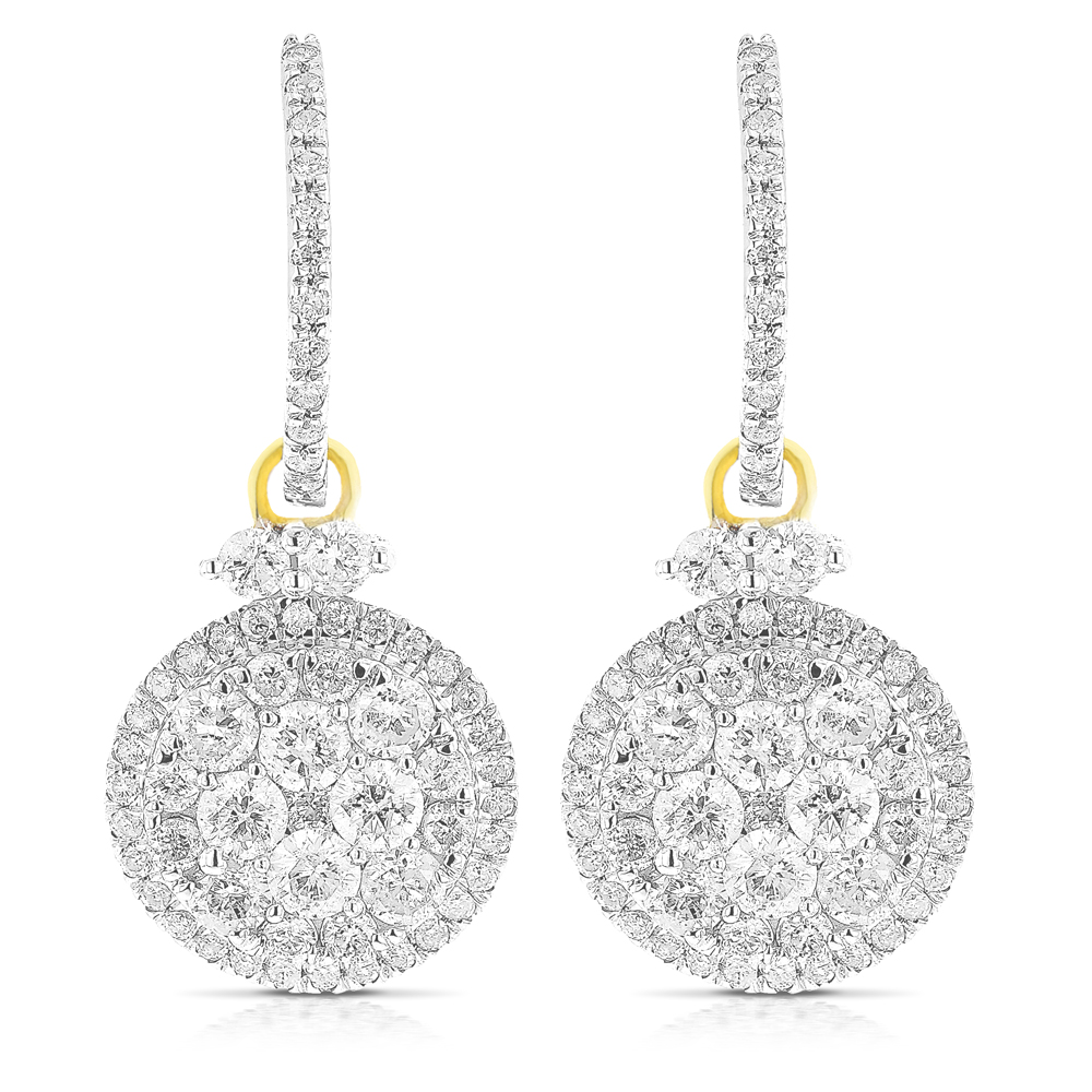 Dangle Diamond Circle Earrings 2.75ct 14K Gold
