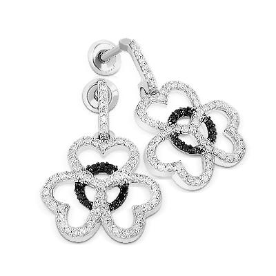 Dangle Diamond Heart Earrings 0.49ct 14K Gold