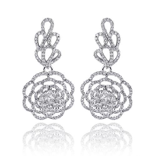 Dangle Flower Leaf Diamond Earrings 2.35ct 14K Gold