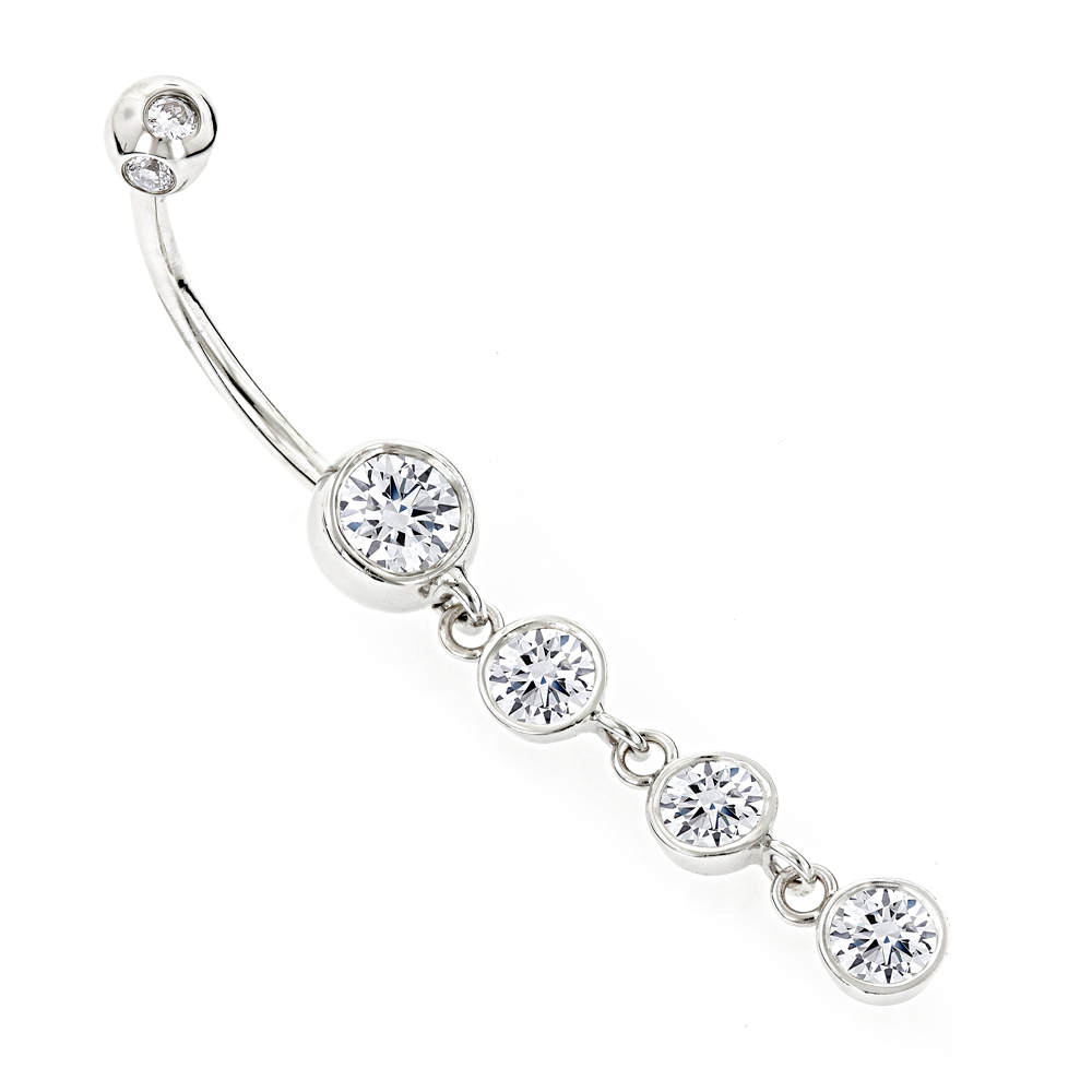 Dangling Belly Button Ring Gold and Diamonds 1.65ct