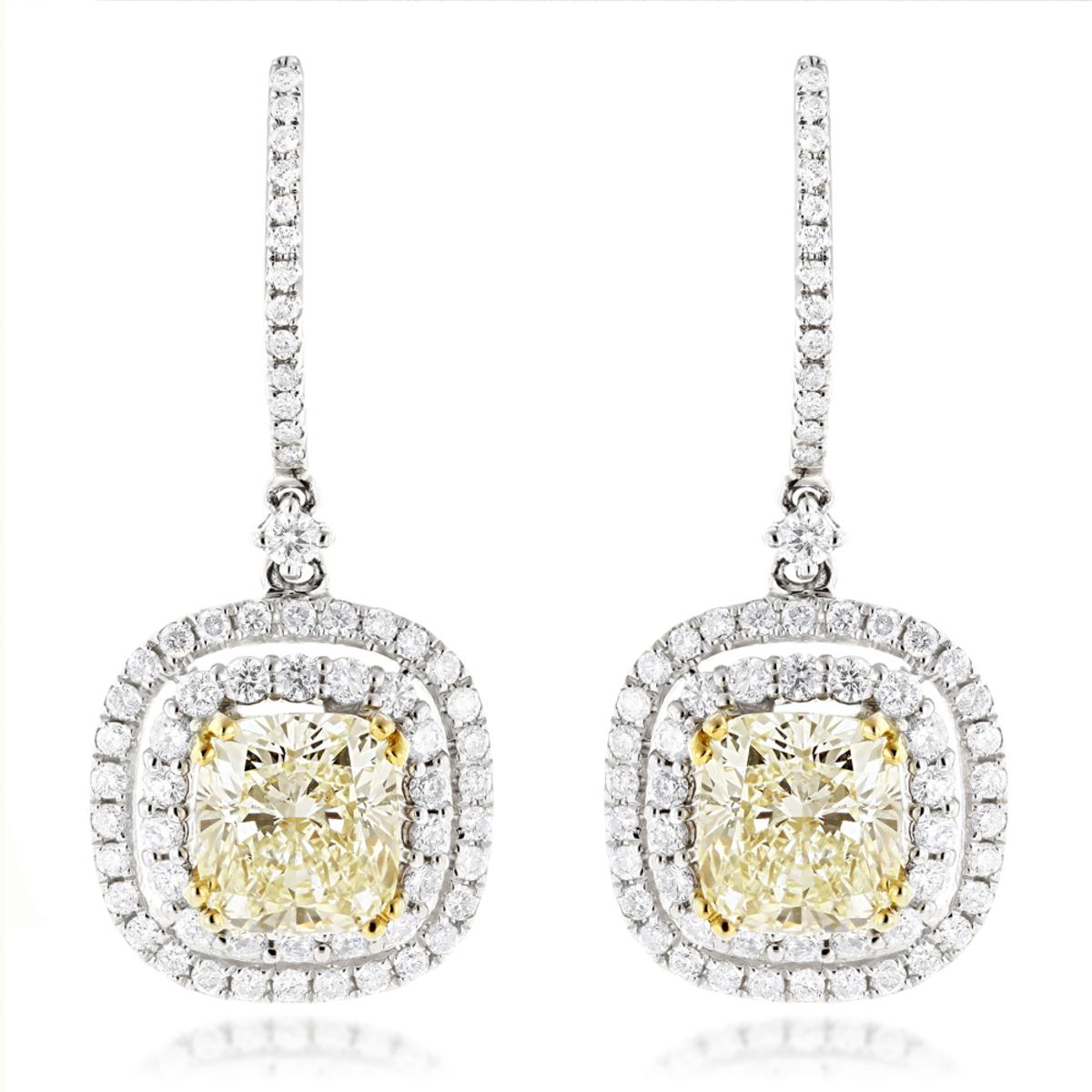 Dangling Designer Diamond Drop Earrings 6.5ct 18K Gold Yellow Diamonds