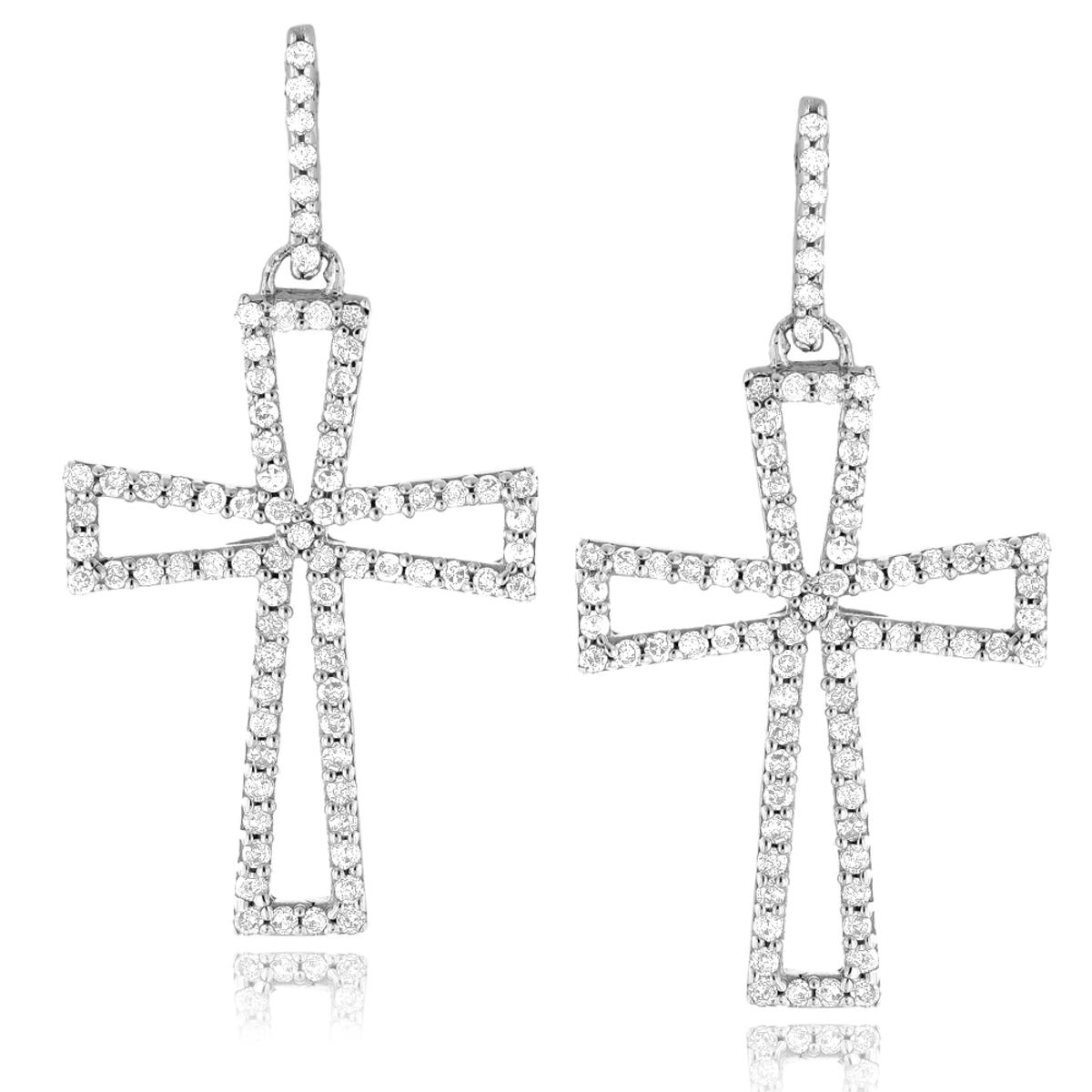 Dangling Diamond Cross Earrings 0.8ct Sterling Silver