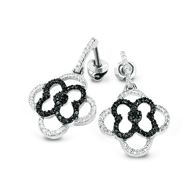 Dangling Flower Earrings with Black and White Diamonds 0.53ct 14K Gold