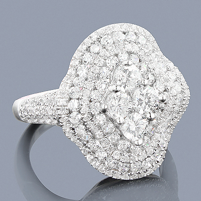 Dazzling Diamond Cocktail Ring 14K 2.18ct