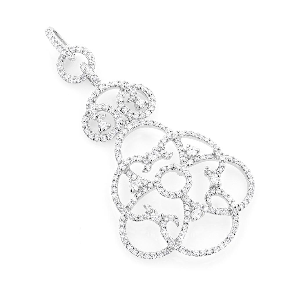 Delicate 14K Gold Women's Diamond Pendant 1.68ct Flower Pattern Design