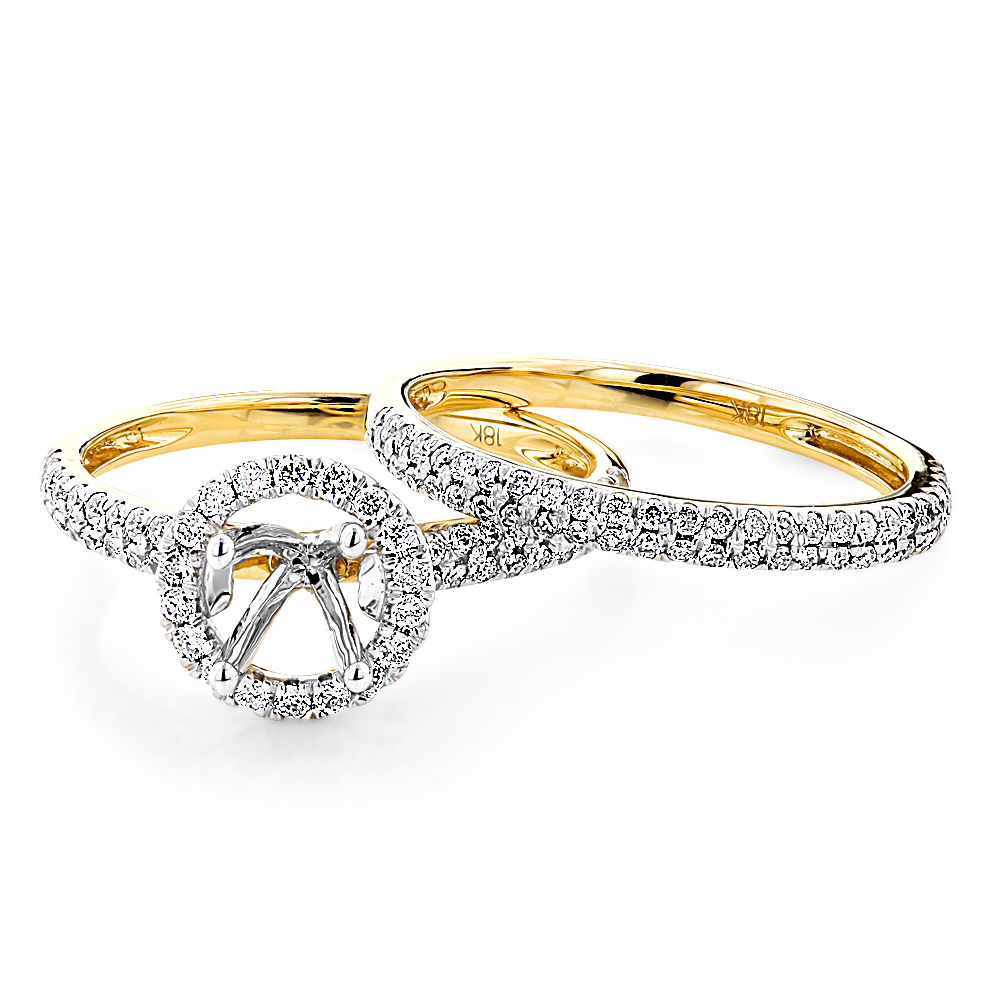 Delicate Halo Round Diamond Engagement Ring Mounting Bridal Set 18K Gold