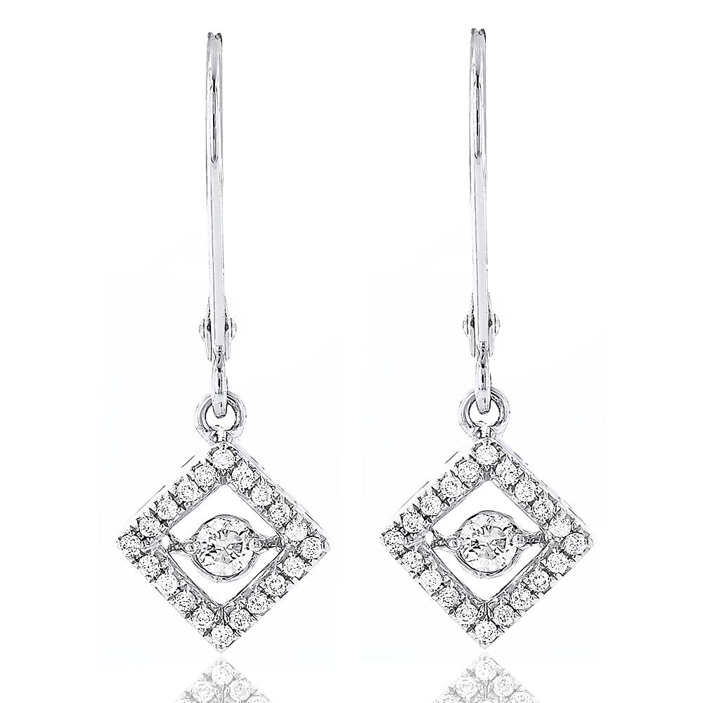 Delicate Ladies 14K Gold Square Dancing Diamond Earrings