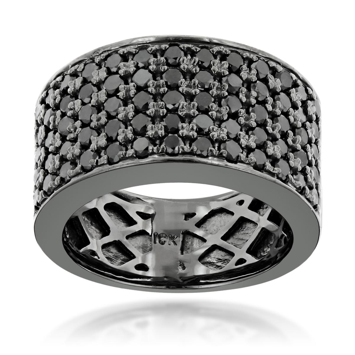 Designer 10K Gold Black Diamond Wedding Band for Men 1.67ct Luxurman Ring