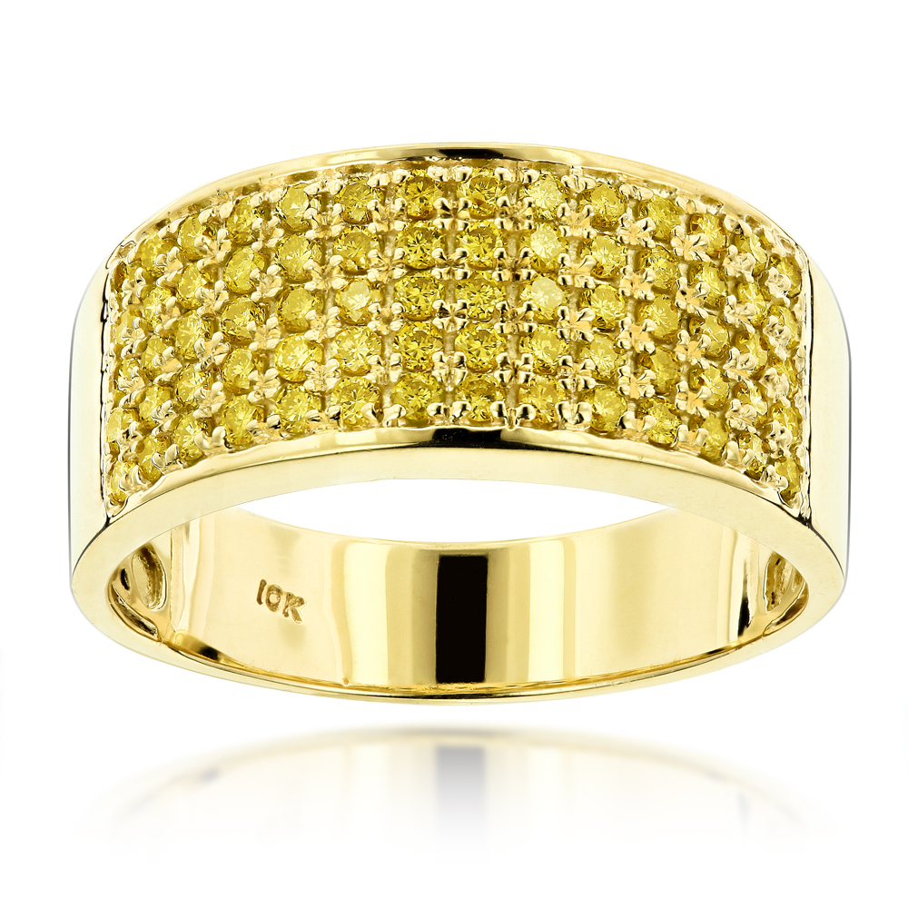 Designer 10K Gold Yellow Diamond Wedding Band for Men 1.67ct