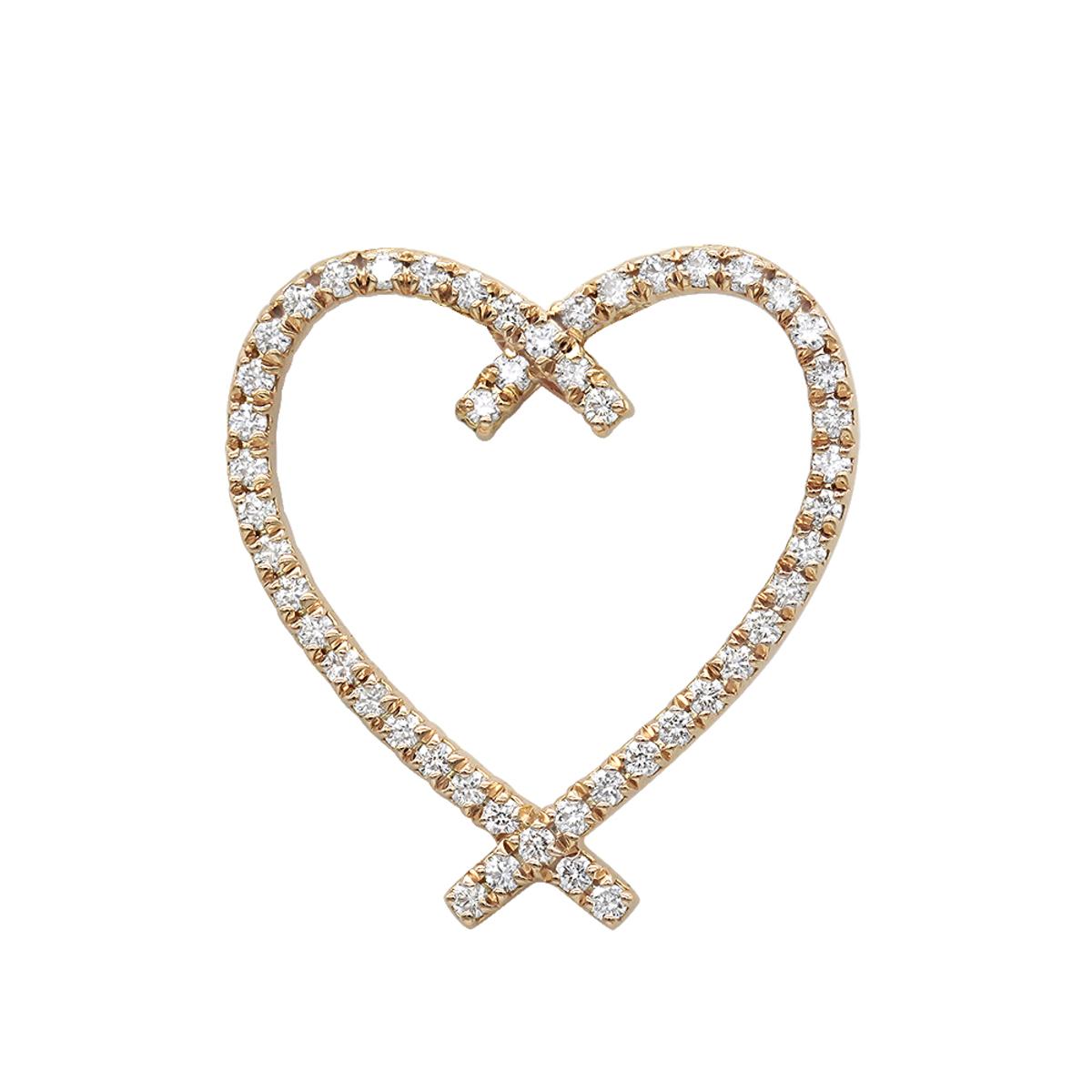 Designer 14 Karat Gold Diamond Heart Pendant 0.63ct