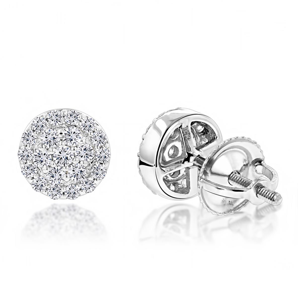 Designer 14K Gold Cluster Diamond Stud Earrings 0.43ct