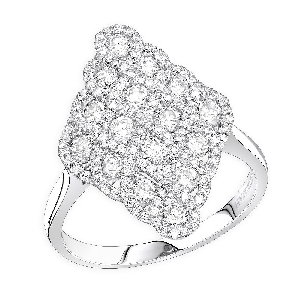 Designer 14k Gold Diamond Cocktail Ring For Women Romb Vintage Style 1.2ct