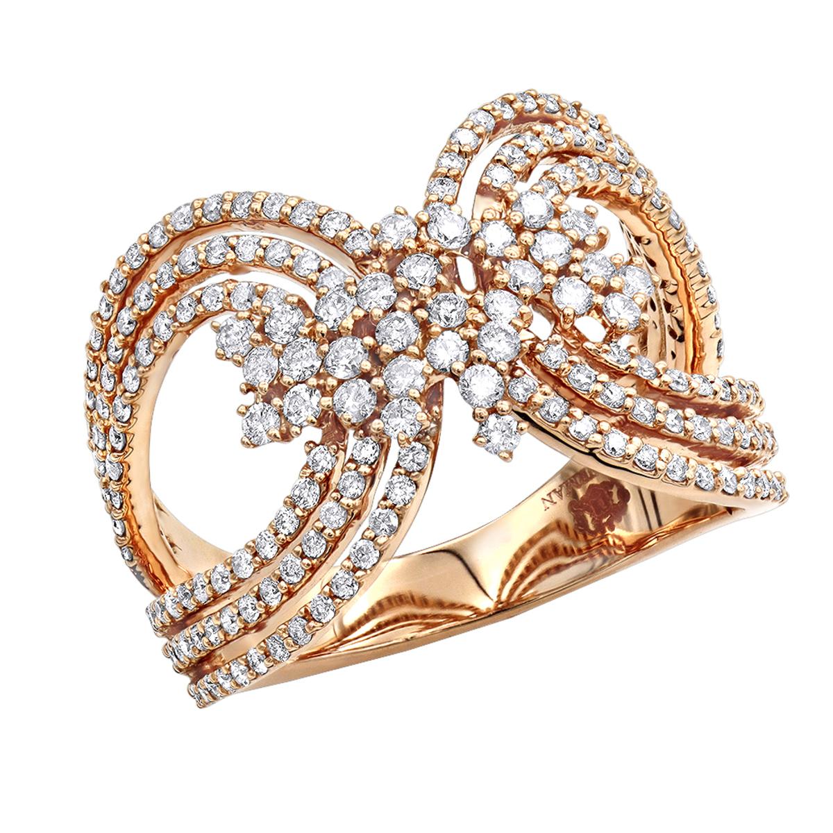 Designer 14K Gold Ladies Diamond Cocktail Ring 1 carat by Luxurman