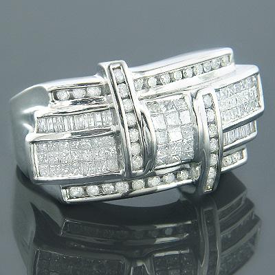 Designer 14K Gold Mens Diamond Criss Cross Ring 2.5ct