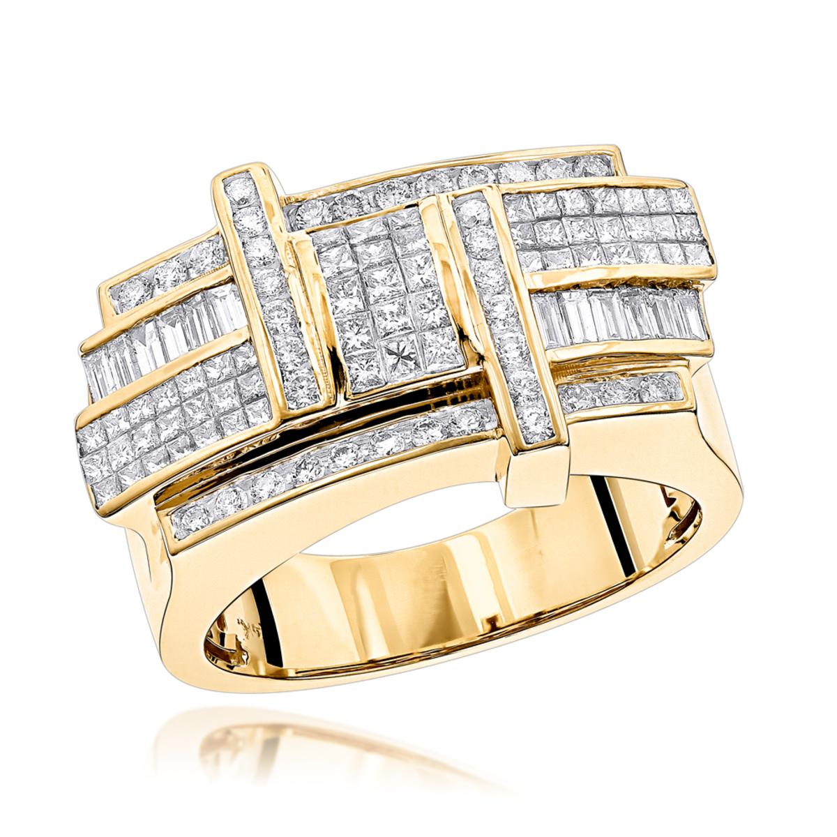 Designer 14K Gold Mens Diamond Criss Cross Ring 2.5ct G VS Diamonds