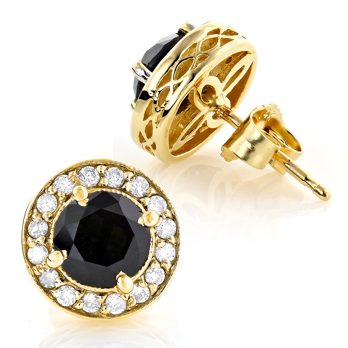 Designer 14K Gold White Black Diamond Stud Earrings 1.92ct