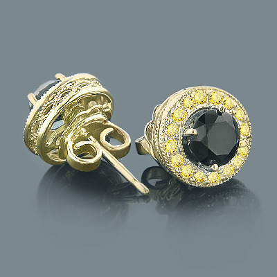 Designer 14K Yellow Black Diamond Stud Earrings 1.92ct