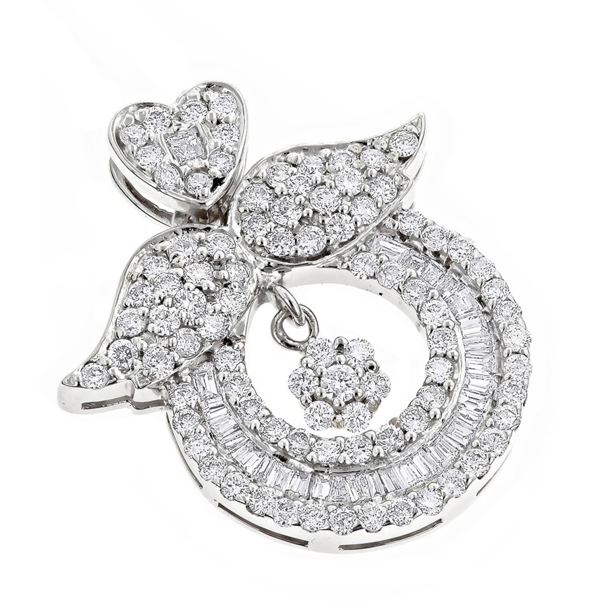 Designer 18K Gold Diamond Angel Wing Pendant for Women 2.21ct