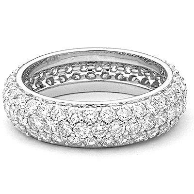Designer 18K Gold Pave Diamond Eternity Ring 3.23ct