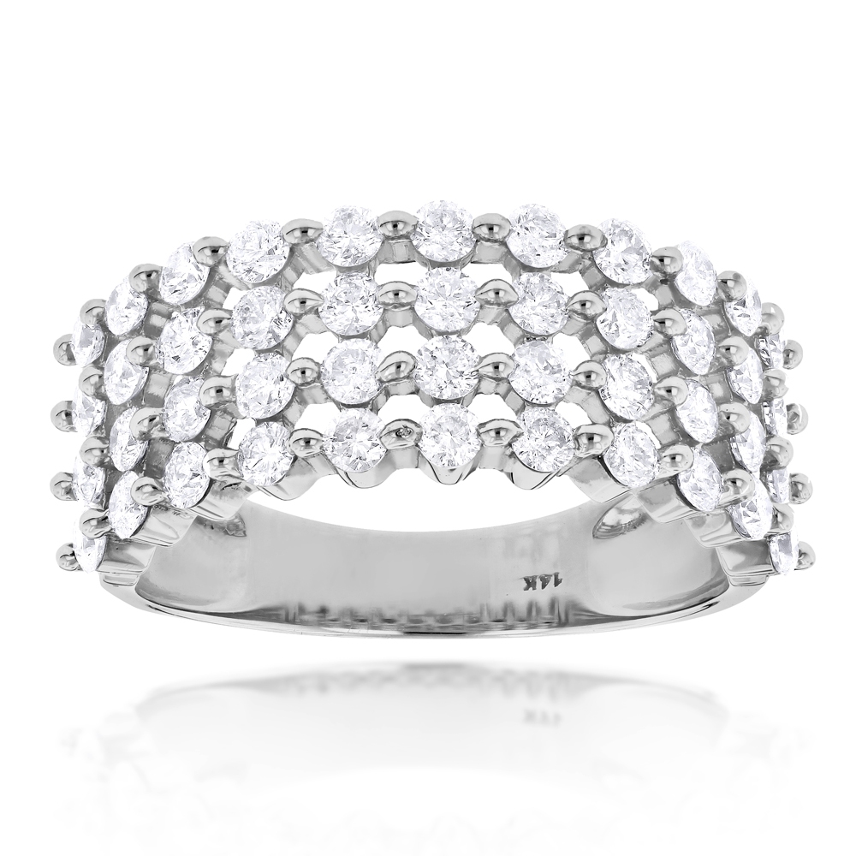 Designer 4 Row Diamond Wedding Band 1.42ct 14K Gold