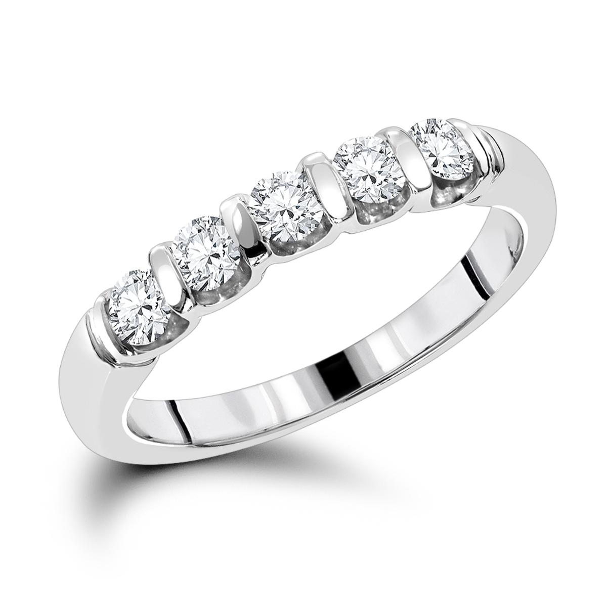 Thin Designer 5 Stone Diamond Wedding Band 0.50ct 14K Gold