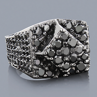 Designer Black Diamond Ring 4.15ct